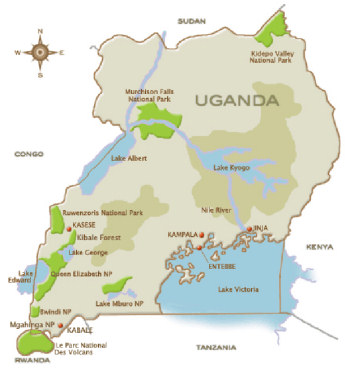 Karte von Uganda